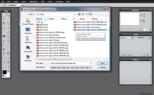 Pixlr screenshot - upload gambar dari komputer