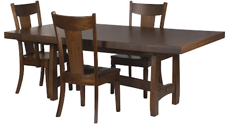 "80"" x 46"" Montreal Dining Table with Timber Edge, Corsica Chairs, Ruby Walnut"