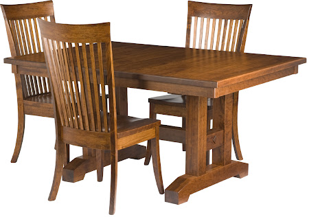 "42"" x 42"" Trestle Table and Lancaster Chairs in Antique Cherry"