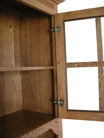 Farmhouse China Cabinet in Medium Oak