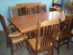 80 x 42 Mission Dining Table & Mission Chairs & Mission Benches & Mission Server, Cherry & Walnut Hardwood, Natural Finish