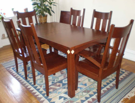 "60"" x 36"" Shaker Table and Monaco Chairs in Chocolate Cherry"