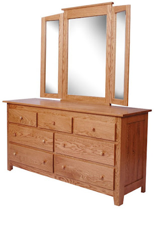 Shaker Horizontal Dresser with Tri-Fold Mirror, in Medium Oak