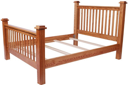 prairie bed frame in medium oak