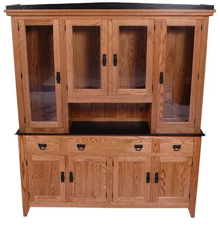 Cottonwood China Cabinet in Medium & Midnight Oak