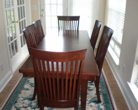 "70"" x 42"" Lancaster Table, Lancaster Chairs, Cherry Hardwood, Chocolate Finish"