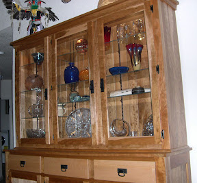 Mission China Cabinet, Birds Eye Maple and Cherry Hardwood, Natural Finish