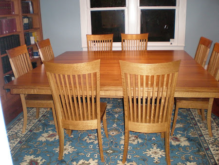 "84"" x 84"" Lancaster Table & Lancaster Chairs, Quarter Sawn Oak Hardwood, Rustic Finish"