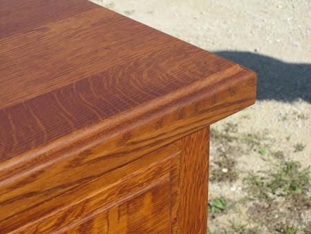 Lotus Vertical Dresser in Rustic Quarter Sawn Oak, Top Detail Closeup