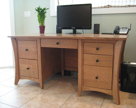 "60"" wide x 36"" high Kyoto Style Desk in Medium Quarter Sawn Oak"