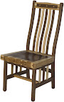 Raised Mission Dining Chair, Custom Border Design, Natural Hickory and Walnut