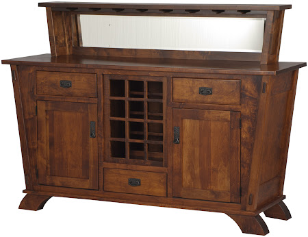 """36"""" high x 60"""" wide x 20"""" deep Baroque Kitchen Buffet in Royal Maple, Shown with Custom Wine Rack and Mirror Backboard"""