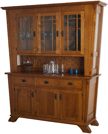 "84"" high x 68"" wide x 20"" deep Baroque China Cabinet in Rustic Quarter Sawn Oak"