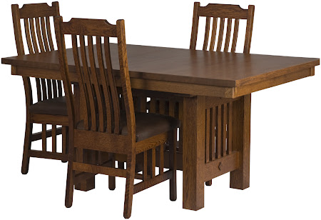 "60"" x 42"" Mission Dining Table, Mission Dining Chairs, in Autumn Quarter Sawn Oak"