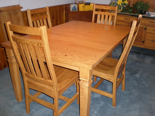 "60"" x 42"" Corsica Dining Table and Trestle Dining Chairs in Honey Oak"