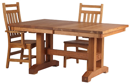 Trestle Table and Runic Chairs in Rustic Oak