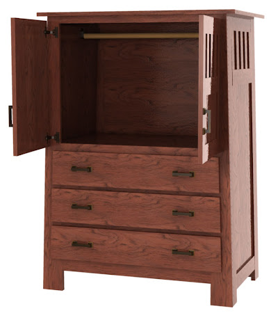 Teton Armoire in Mahogany Oak (shown with solid wood rear panel)