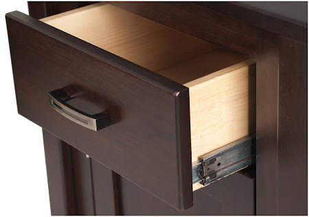 Dakota Nightstand with Door, in Mocha Walnut, Custom Hardware