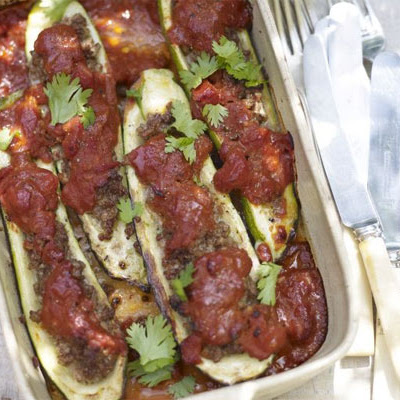 Baked Courgettes Stuffed With Spiced Lamb & Tomato Sauce