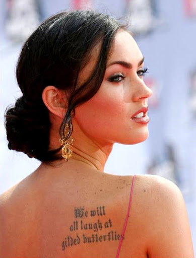 "Megan Fox with Shakespearean quote. ""We two alone will sing like birds i'"