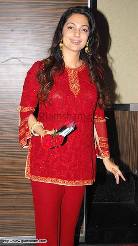 Juhi Chawla Scandal in Red Dress