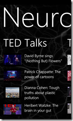 Neurons TED Talks for Windows Phone 7 (click to enlarge).1