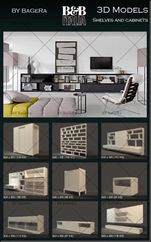 B&B Italia Shelves and cabinets 3D Models collection – Free DownLoad