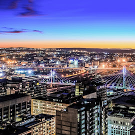 Nelson Mandela Bridge by Alexius van der Westhuizen - Buildings & Architecture Office Buildings & Hotels ( johannesburg, sunset, nelson mandela, city lights, electricity, the parktonian, braamfontein, energy,  )