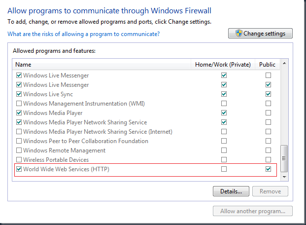 Windows Firewall IIS allowing