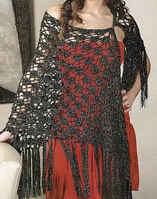 chal con flecos tejido a crochet