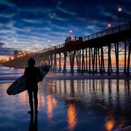 Admiration by Alan Crosthwaite - Landscapes Beaches ( beach backgrounds, oceanside, beach sunsets, southern california, oceanside pier, pier backgrounds, tourism, travel, coastal, destination, silhouetted, admiration, san diego, piers, surfer, surfboard, travel backgrounds, sunset, pier sunsets, pier, silhouettes )