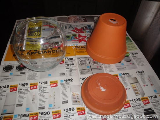 make a candy jar from terracotta pots