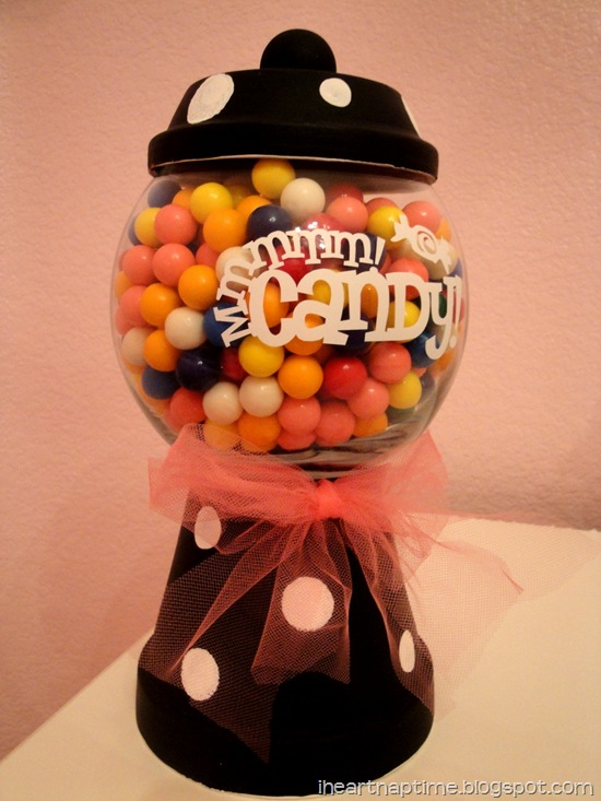 gumball candy jar made from terracota pots