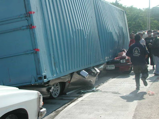 Reasons not to drive close to container trucks
