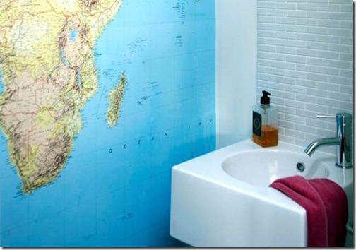 Atlas map wall hanging bathroom sink washbasin L etc 07/2007 not used  real home