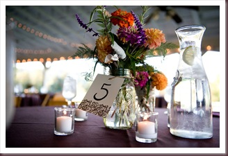 Table numbers with centerpiece