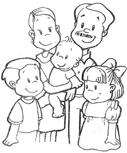 Familia nuclear y extensa para colorear - Imagui