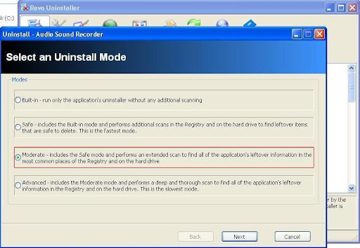 Revo Uninstaller uninstall mode
