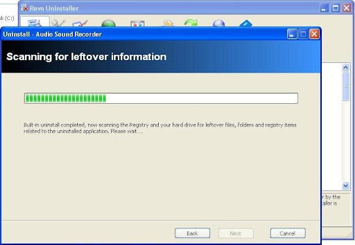 Revo Uninstaller sacanning leftover information