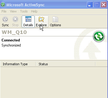 Explorando dispositivo via ActiveSync