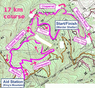 Pacific Trails 17 km course
