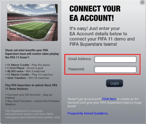 Dados da conta EA
