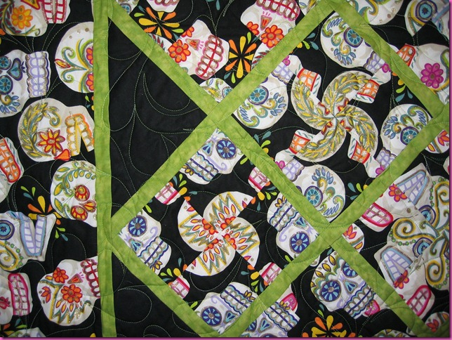 Closeup of Day of the Dead Quilt