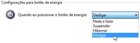 2. Aí você vera o opção do Botão de Energia, coloque qual quiser.