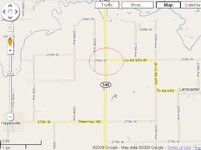 The approximate location of the crash