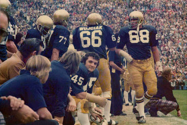 "Daniel ""Rudy the rocket"" Ruettiger dressed in his #45 for the Georgia Tech game (Wikipedia)"