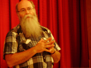 Mike Zahs speaks to the audience at the Brinton Film Festival at the Opera House in Ainsworth Friday and Saturday. Ainsworth, Iowa. July 26, 2008 (Ben Stanton/KCII)