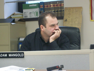 Supervisor Adam Mangold Listens as Supervisor Wes Rich (not shown)Discusses a Proposal That Could Mean a Sort of Statewide Zoning Ordinance at the 11/24/09 Meeting. (KCII NEWS)
