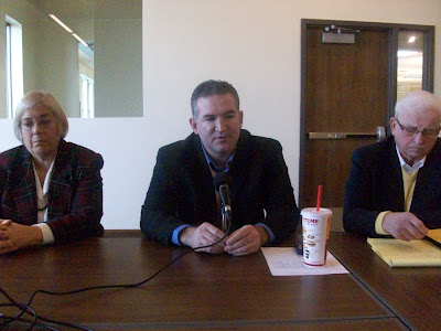Senator Becky Schmitz (D-Fairfield on the left), Iowa House Majority Leader Kevin McCarthy (D-Des Moines, center) and Representative Larry Marek (D-Riverside) Speak at the Washington Public Library on Thursday December 17, 2009 (KCII NEWS)