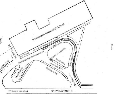 Washington Junior High School's New Parking Plan.<br /> (Washington Junior High School News Release)